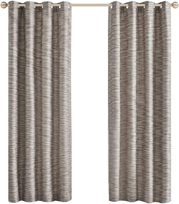 Madison Park Cameron Yarn Dyed Texture Curtain, Grommet Top Window Drapes for Living Room, Bedroom and Appartment, 50