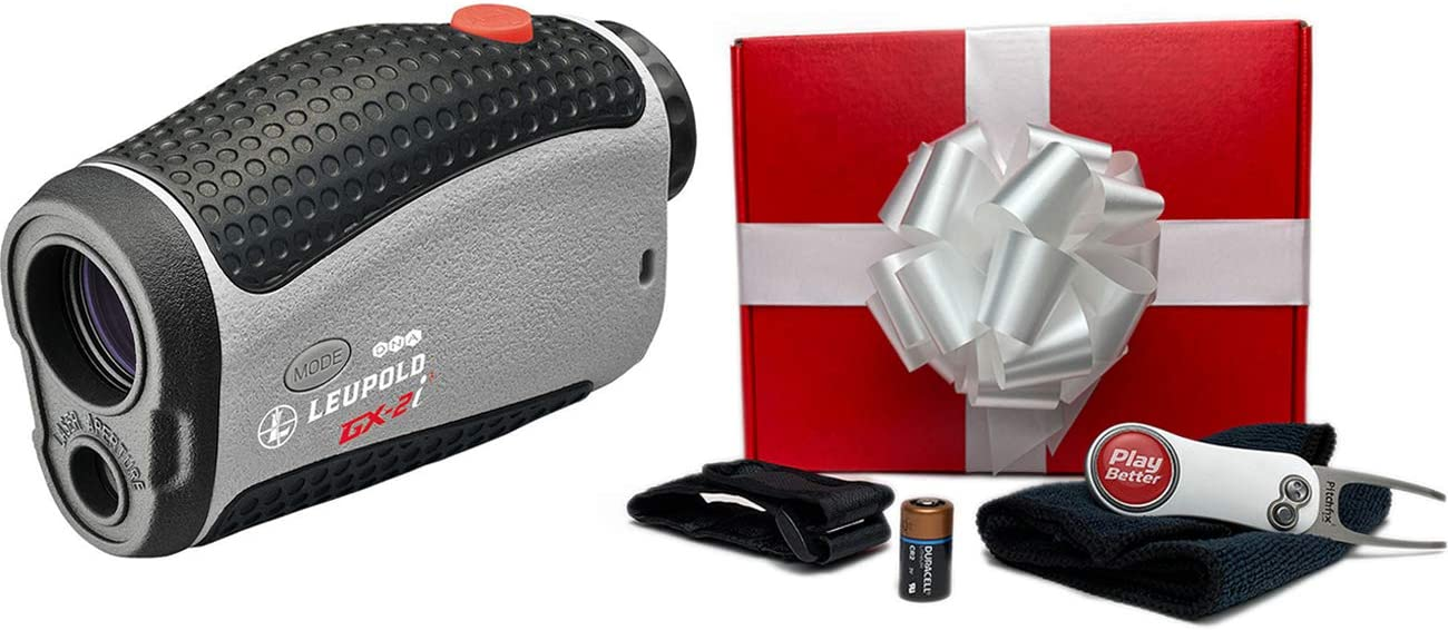 Leupold GX-2i3 Rangefinder Gift Box Bundle PlayBetter Microfiber Towel, Extra CR2 Battery, PlayBetter Pitchfix Divot Tool Magnetic Cart Mount DNA, TGR and Club Selector