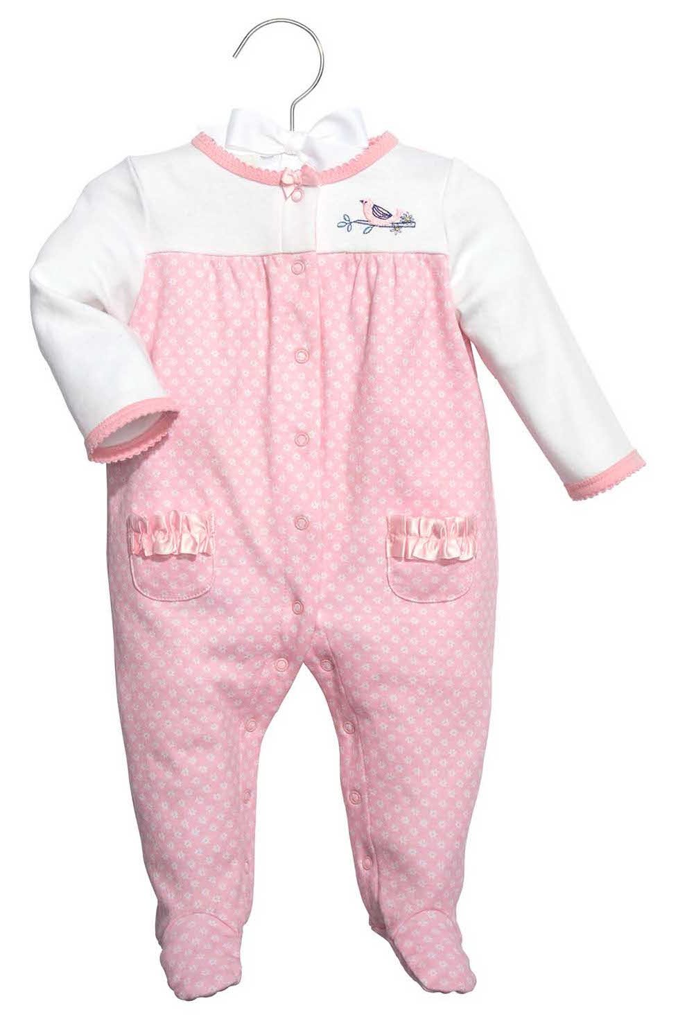 C.R. Gibson Footed Sleep and Play Set, Fits Size 0-3 Months, Little Birdie