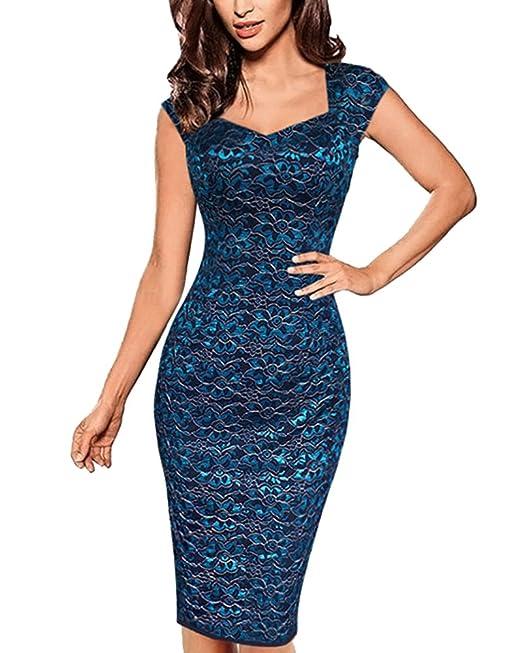 Vestidos para Mujer Vintage Encaje Coctel Vestidos de Fiesta Negocios Bodycon Cortos Vestidos Azul S