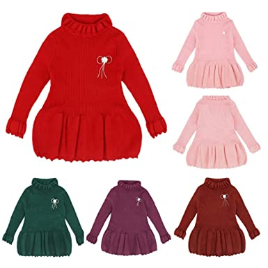 5daa2e5ac9b1 Amazon.com  Sunbona Toddler Baby Girls Cute Knitted Sweater ...