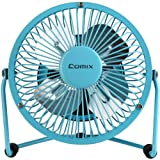 Comix Mini Personal Desktop Fan, 4'', Metal Design, Quiet Operation, Air Radiator for Laptop,USB Cable Powered, Blue (L602)