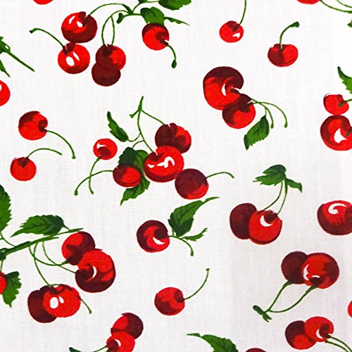 Cherry Fruit White Poly Cotton, 58