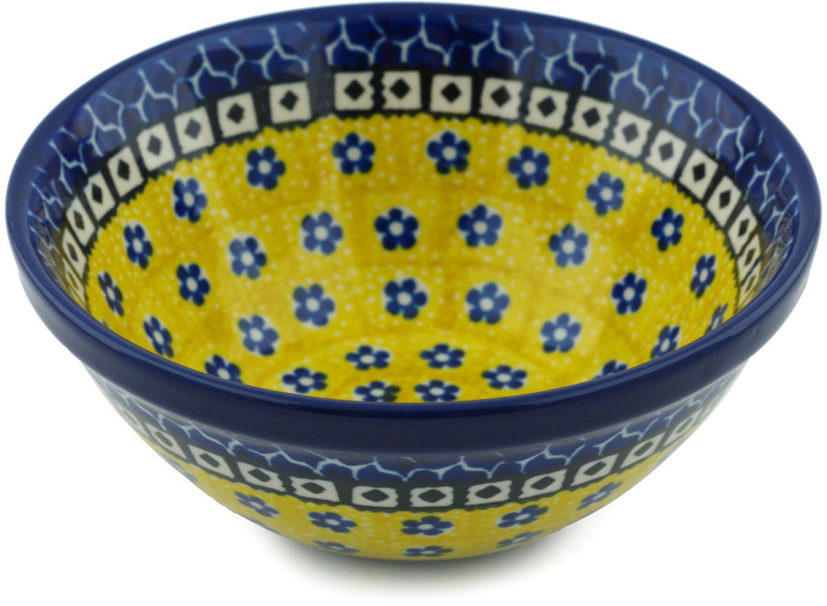 Polish Pottery Cereal/Soup Bowl 5-inch (Sunburst Daisies)