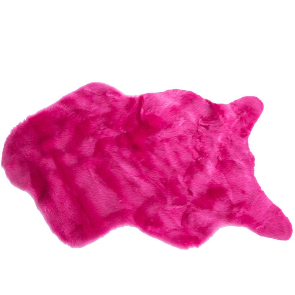 Soft Fur Chair Pads,U&M Premium Faux Wool Sheepskin Rug -Perfect Home Deco. Choice (23 in. X 40 in.) (Hot Pink)