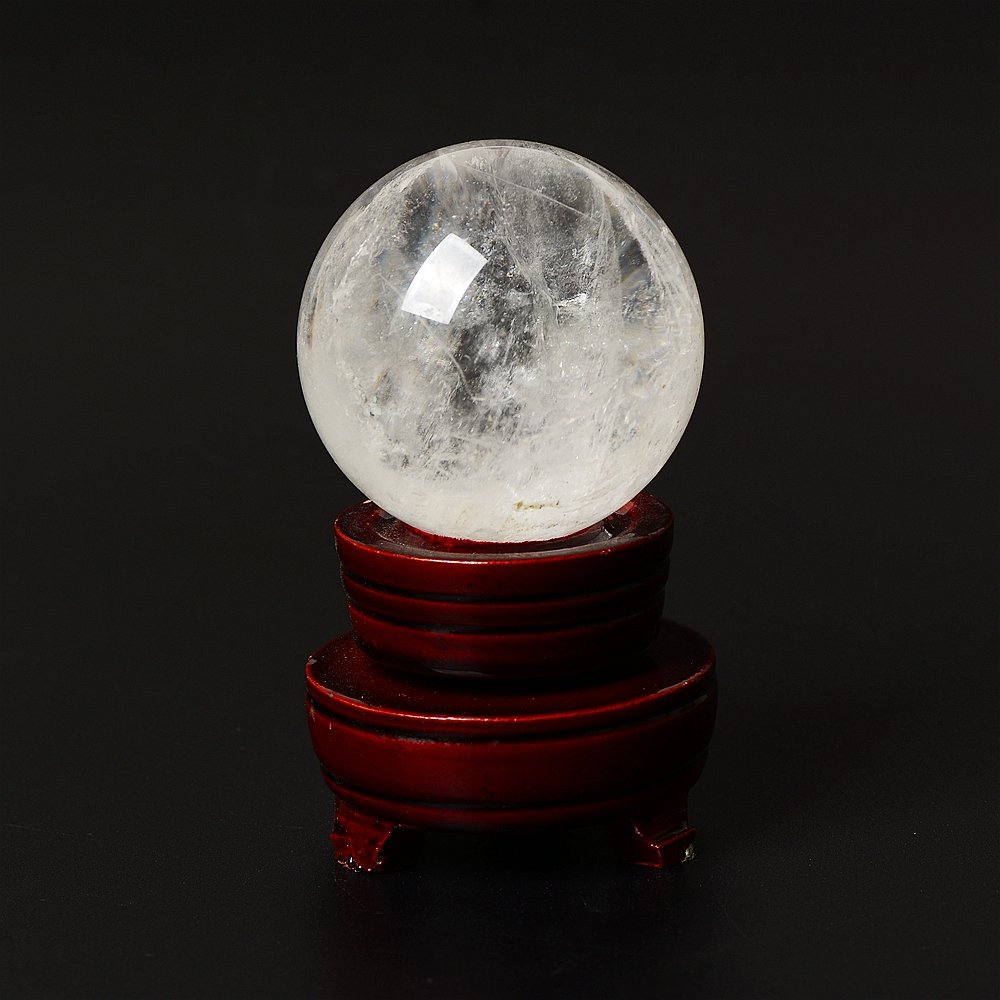 ruhong Natural Quartz Handmade Art 70mm-80mm Healing Clear Crystal Ball Stone Craft Christmas Home Decoration Gift Collection Fengshui Sphere with Free Stand (clear)