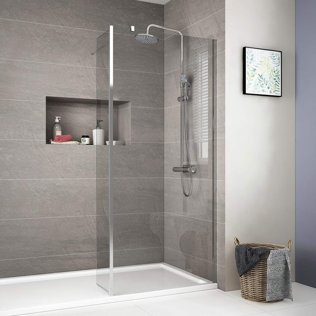 Clear 1000mm Screen + 300mm Flipper 1000mm Walk in Wet Room Shower Enclosure Screen Panel with 300mm Flipper Panel   8mm Easy Tea Glass Walkin Shower Enclosure with 300mm Return Panel and Support Bar-Brown
