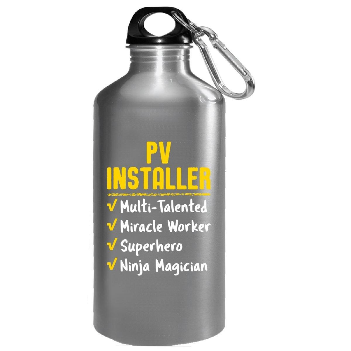Pv Installer Miracle Worker Superhero Ninja Funny Solar Gift - Water Bottle