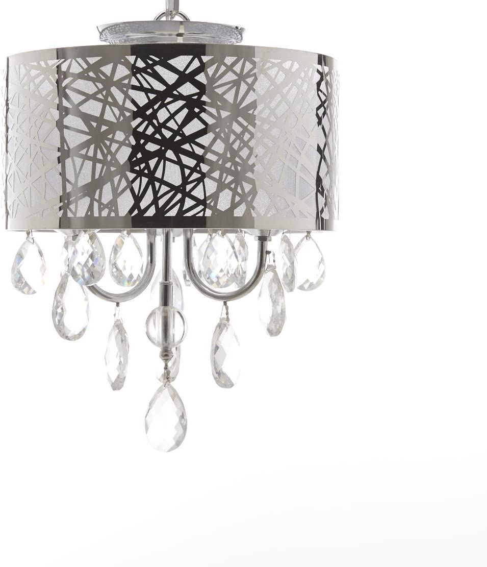 Diamond Life 3-Light Chrome Round Metal Shade Crystal Chandelier Pendant Hanging Ceiling Fixture