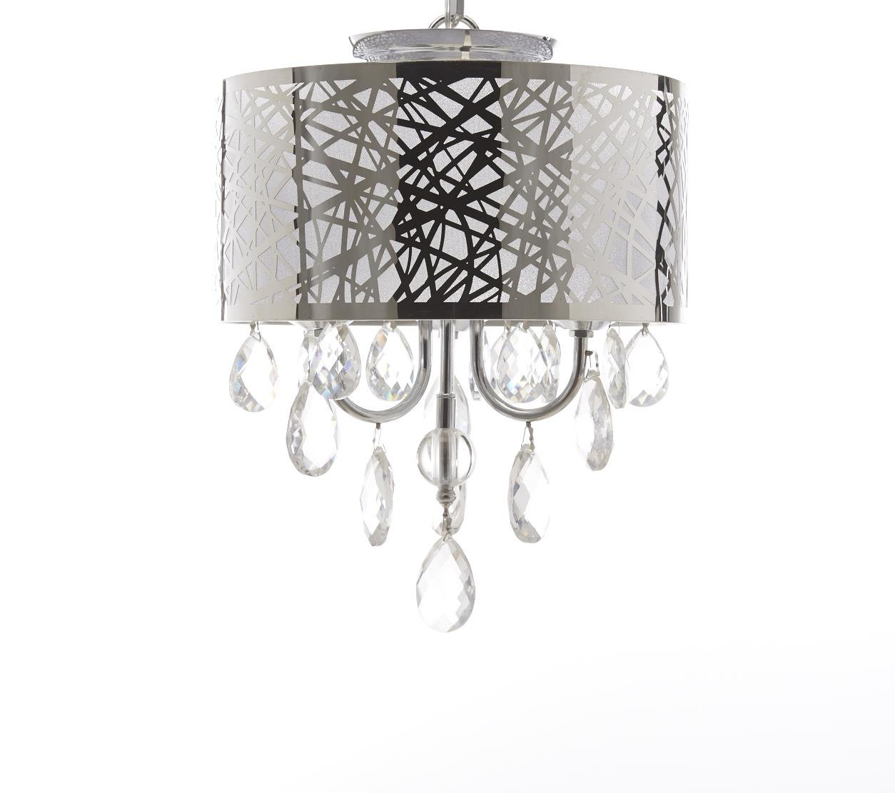Diamond Life 4-Light Chrome Round Metal Shade Crystal Chandelier Pendant Hanging Ceiling Fixture