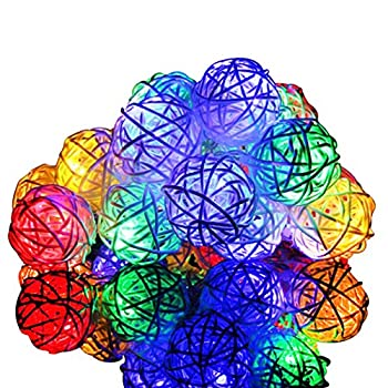 LED String Lights, 40 LEDs Rattan Christmas Lights Colored, Battery Powered Decorative Bulb Lights for Room,Patio Garden Backyard Bistro Balcony Cafe Party Outdoor & Indoor