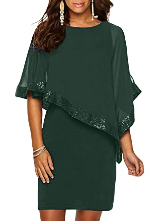 3e0236d03c08f Sidefeel Women Sequin Mesh Overlay Pencil Mini Poncho Dress Small Green