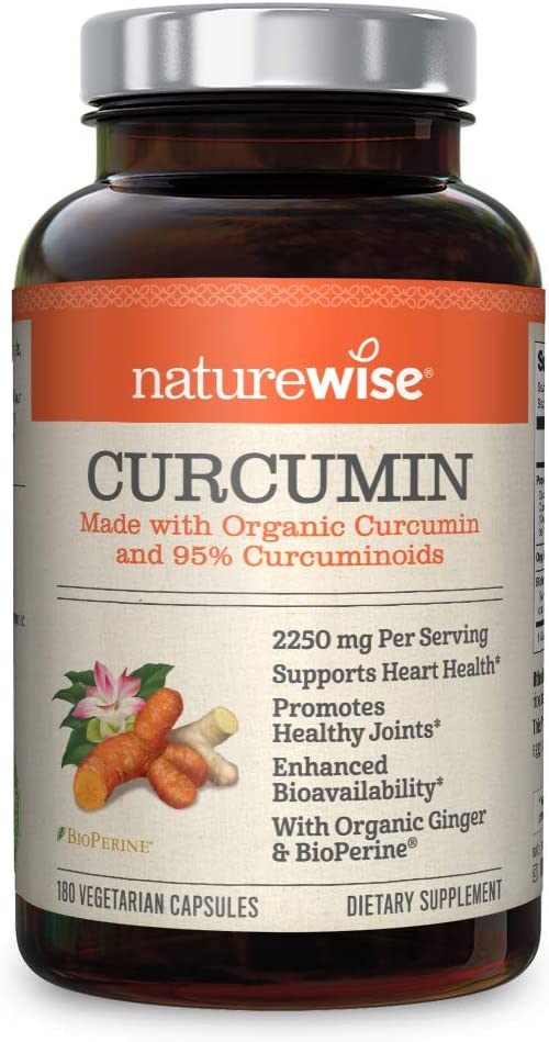 NatureWise Curcumin Turmeric 2250mg (2 Month Supply) | 95% Curcuminoids & BioPerine Black Pepper Extract | Advanced Absorption for Cardiovascular Health Joint Support | Gluten Free Non-GMO [180 Count]: Health & Personal Care