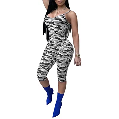 Adogirl Women's Sexy Spaghetti Strap Camouflage Bodycon Shorts Jumpsuit Romper: Clothing