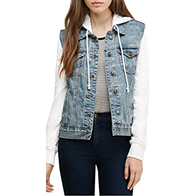 Womens BF Boyfriend Splice Denim Jacket with Hood Coat Baseball ...