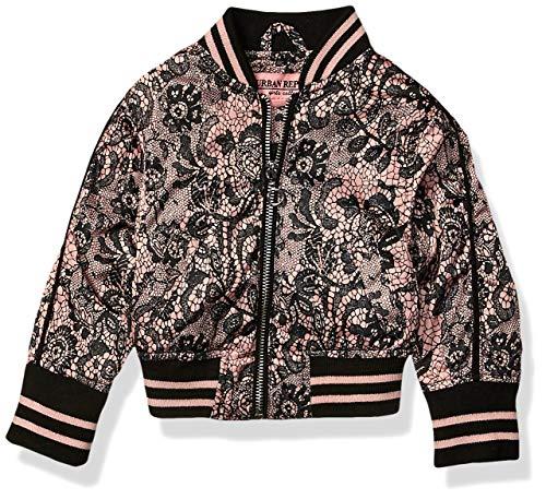 Urban Republic Baby Girls Sateen LACE Print Bomber Jacket, Black, 24M