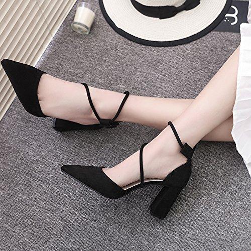 Avec Épais High Pointe Chaussures SHOESHAOGE Femme Unique À Noir Chaussures De Femme EU39 En Satin Femme Sandales Heeled 1wqxxgUH