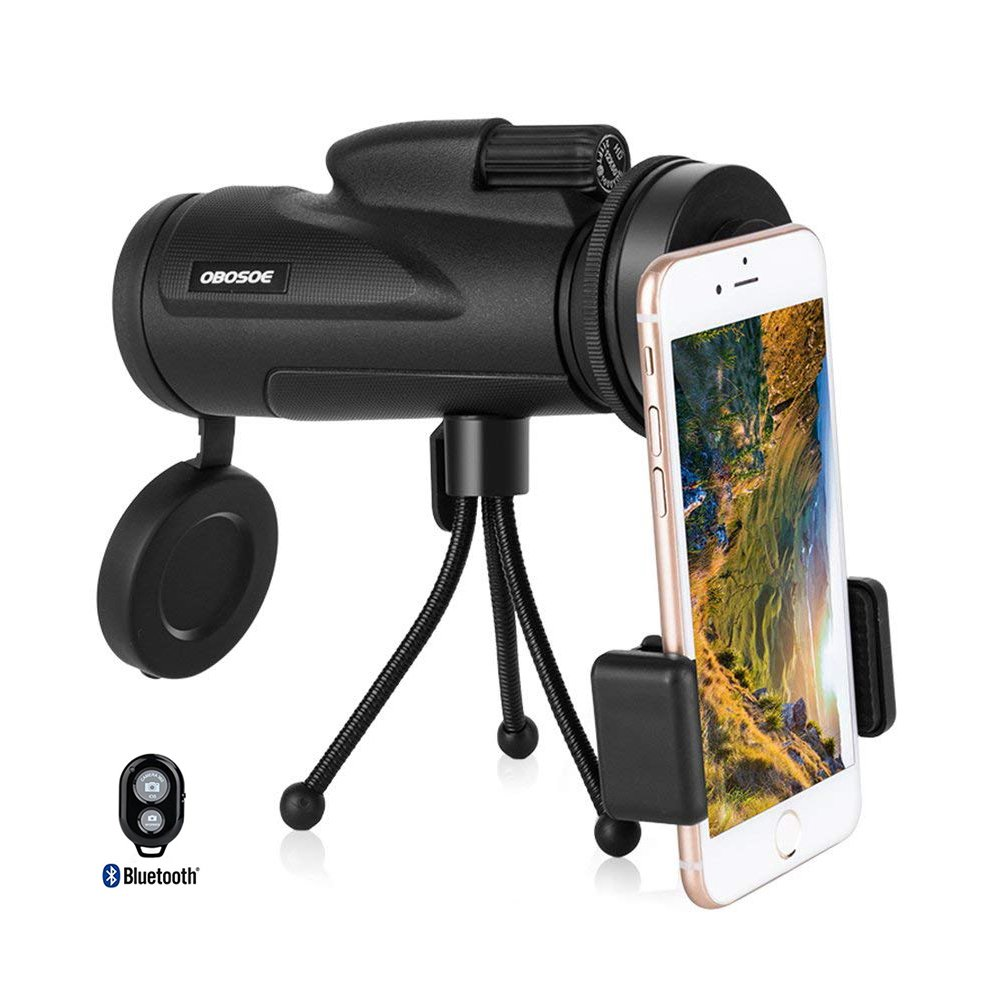 OBOSOE Cell Phone Telescope, 12x50 Dual Focus Monocular Telescope, Low Light Night Vision Prism Scope forBird Watching Hunting Camping Hiking Traveling (FREE REMOTE SHUTTER)