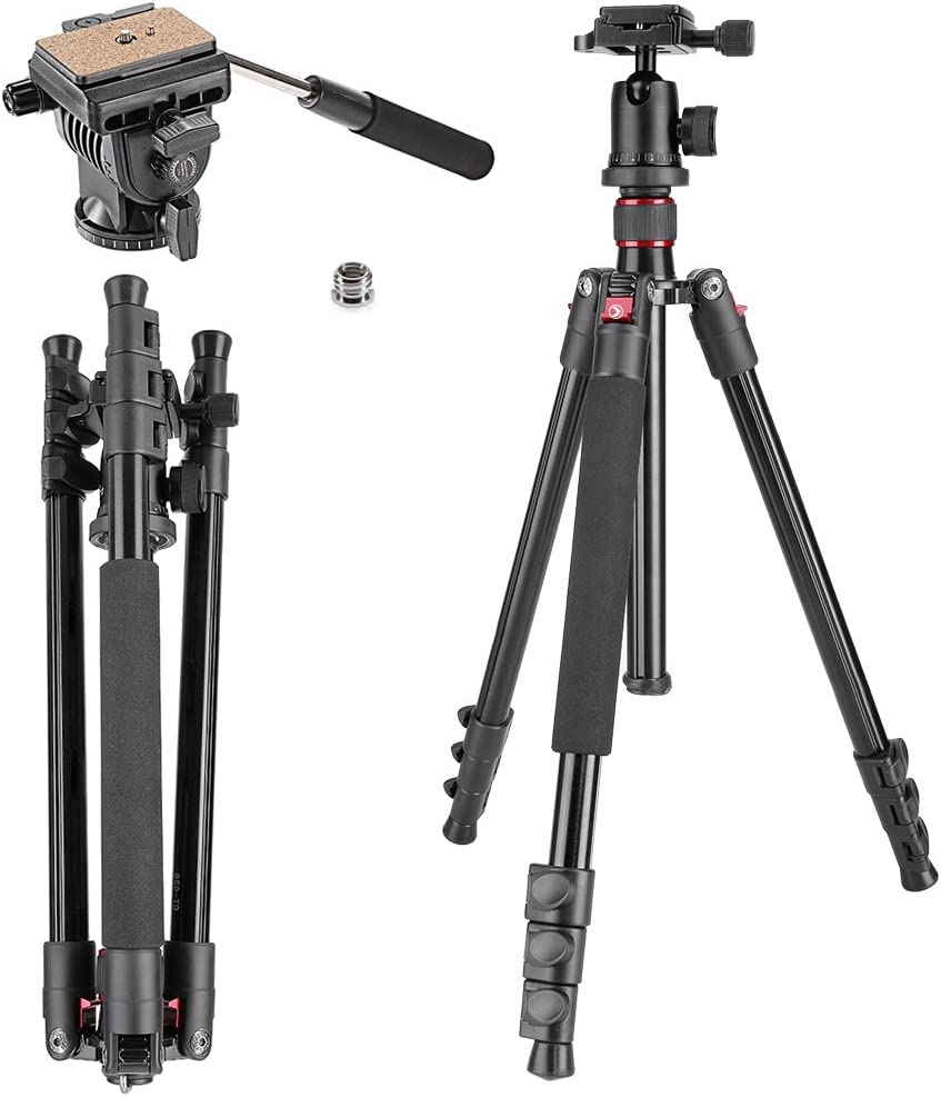 Neewer Alluminum Alloy 62 inches//158 centimeters Camera Tripod with 360 Degree Ball Head,Fluid Video Head,1//4 inch Quick Shoe Plate for DSLR Camera,Video Camcorder,Load up to 17.6 pounds//8 kilograms