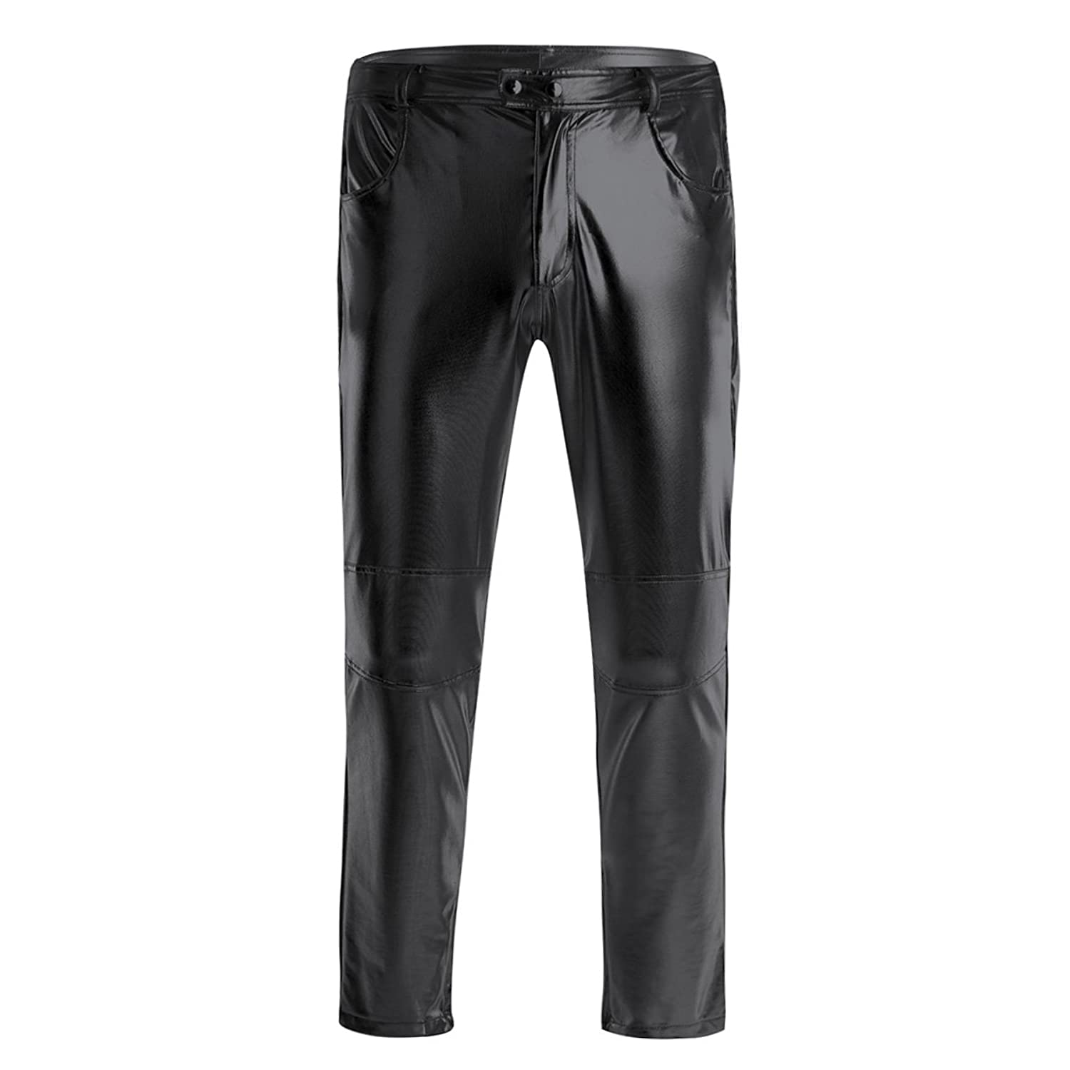 3f8ed51de87360 Mens faux PU leather skinny long pants, skinny fit. Made of soft faux  leather fabric, comfortable and lightweight. Waistline with two snap  buttons fasten, ...