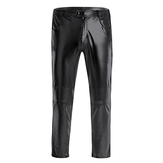 dPois Pantalones Largos Brillo Metálico Hombre Disco Pantalón ...