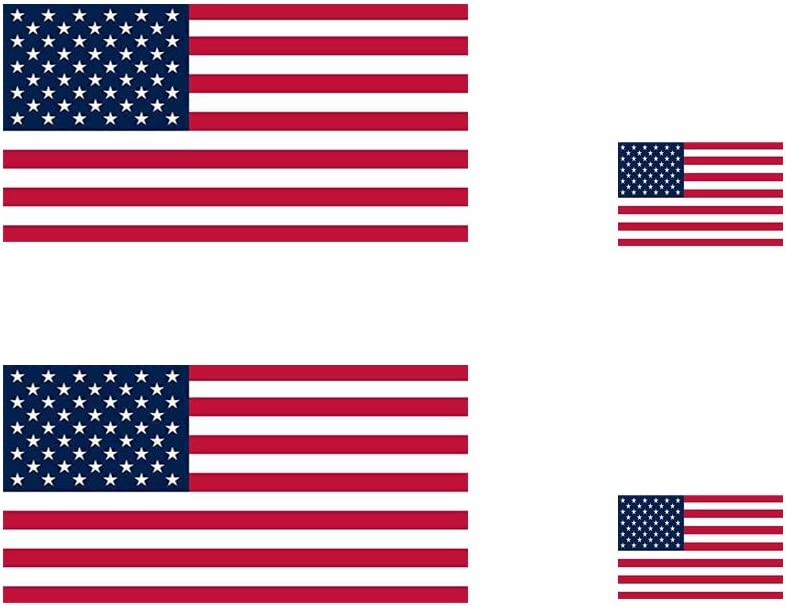 4 Pack American Flag Stickers - Made of Vinyl - USA Patriotic Stickers - Bubble-Free Adhesive - Dishwasher Safe,15.7 X 9in(2 Pack)+6.9 X 3.9in(2 Pack)