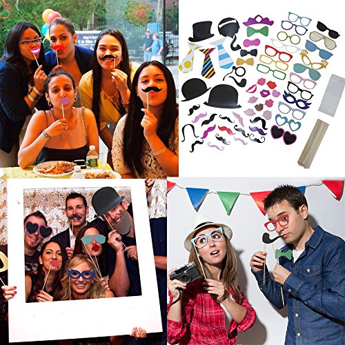 [58 Piece Photo Booth Props DIY Kit Party Favor Dress Up Accessories For Parties, Weddings, Reunions, Birthdays, Bridal Showers. Costumes With Hats, Lips, Mustache, Glasses, Bows And More On] (Costumes For Adults Diy)