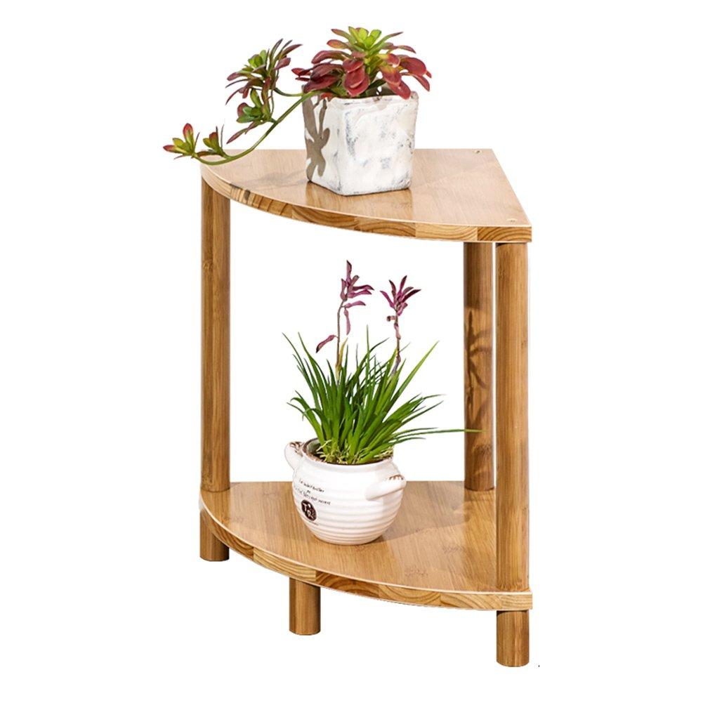 Sector Balcone Flower Stand in Legno massello a più Strati Living Room Landing Pot Rack semplici mensole di bambù impianto Interno (Dimensioni   H40CM)
