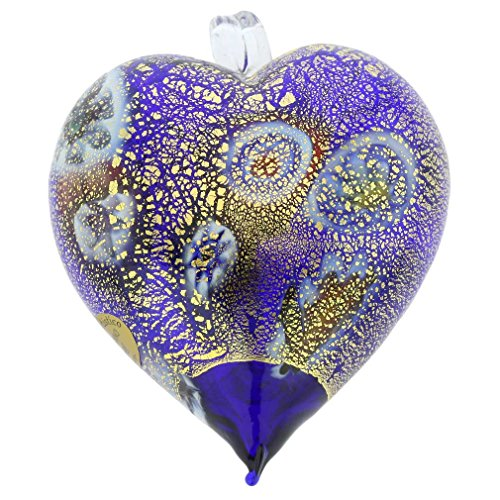 GlassOfVenice Murano Glass Millefiori Heart Christmas Ornament - Blue Gold