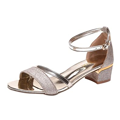 e927ad13c5a Mid Heel Block Sandals for Women Sequins Summer Sandals for Girls Ladies  Sexy Elegant Beach Party