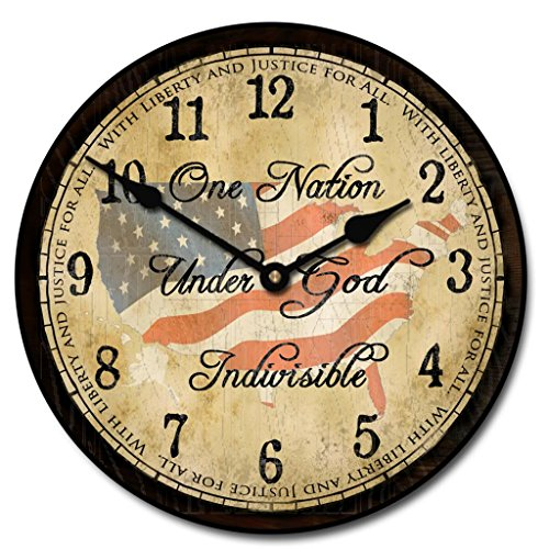God Wall Clock - The Big Clock Store One Nation Under God Wall Clock, Available in 8 sizes, Most Sizes Ship 2-3 days, Whisper Quiet.