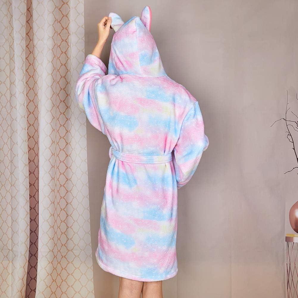 Beinou Fleece Robe Set Bathrobe Flannel Sleepwear Hooded Shower Robe for Kids and Dolls