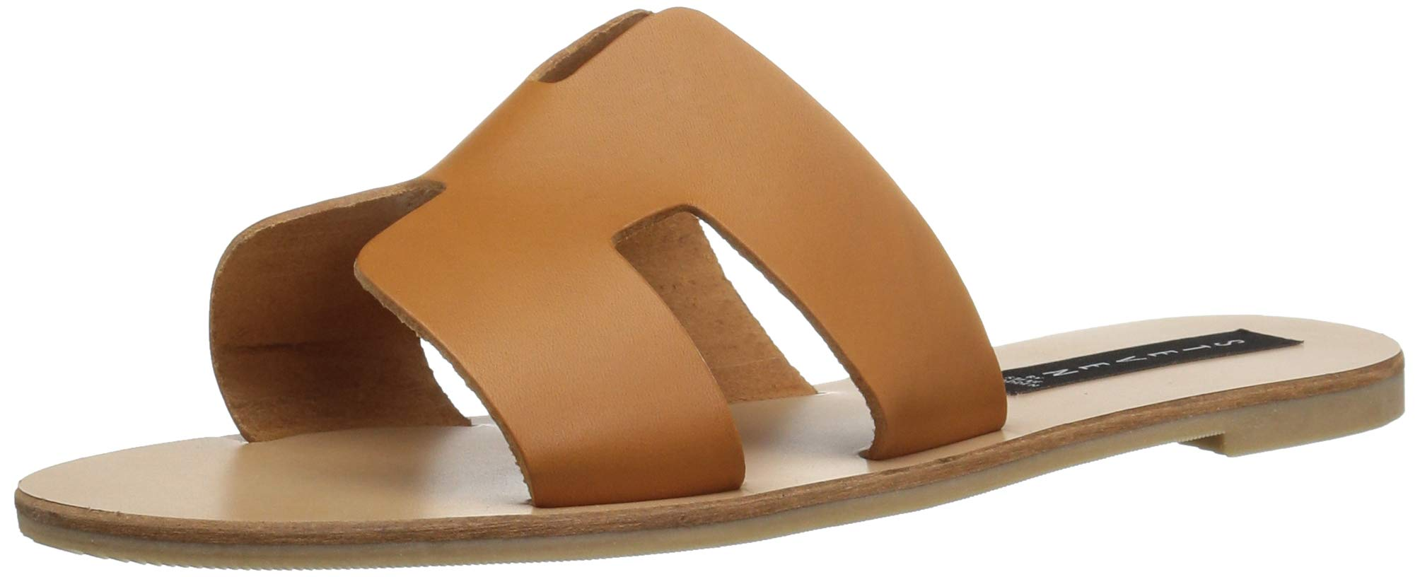 STEVEN by Steve Madden Women's Greece Flat Sandal, Cognac Leather, 8 M US by STEVEN by Steve Madden