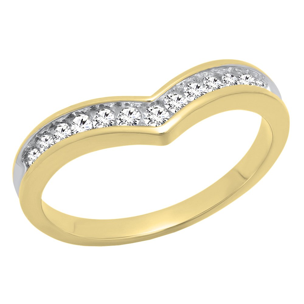 Dazzlingrock Collection 0.25 Carat (ctw) 10K Round White Diamond Stackable Guard Chevron Ring 1/4 CT, Yellow Gold, Size 7.5