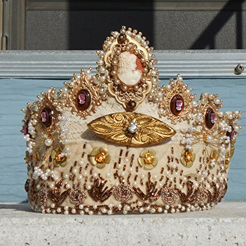 Celebratory Crown, Queen for a Day, TIARA, Hand Carved Shell Cameo, Pearls, Gold Beads, Settings, Flowers, Crystals, Cherubs. ONE OF A KIND!