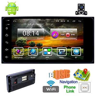 Toyota Double Din Car Stereo with Bluetooth Android 8.1 Car MP5 Player 7 Inch HD Touch Screen Car Radio 1+16G Support GPS Navigation/WiFi/USB/AUX/AM/FM/DVR/Mirror Link/Backup Camera: Car Electronics