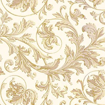 Suttons Wrap Printed Patterned Tissue Wrapping Paper Luxury 5 Sheets Elegance Gold Cream Floral Leaves