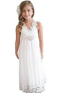 Kengtong Blanc Robe de Mariage Fille Fleur Princesse Robe de Soirée Fête  Cérémonie Anniversaire Demoiselle d 870ad6f03d74