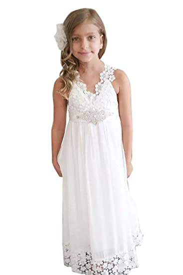 98bc14de1441 White Long Lace Flower Girls Dresses Summer Beach Wedding Party   Amazon.co.uk  Clothing