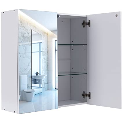 autntico 24 wide 2 mirror wall mounted bathroom cabinet medicine toiletries storage compartments organizer large - Wall Mounted Bathroom Cabinet