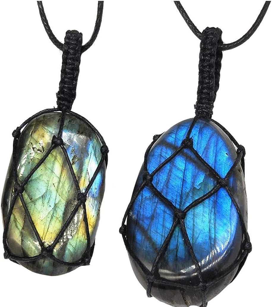 Unisex Labradorita Collar Natural Pendiente De Piedra Irregular Trenza Larga Cadena De La Joyería Collar De La Energía De Las Mujeres De Los Hombres (Color Al Azar)
