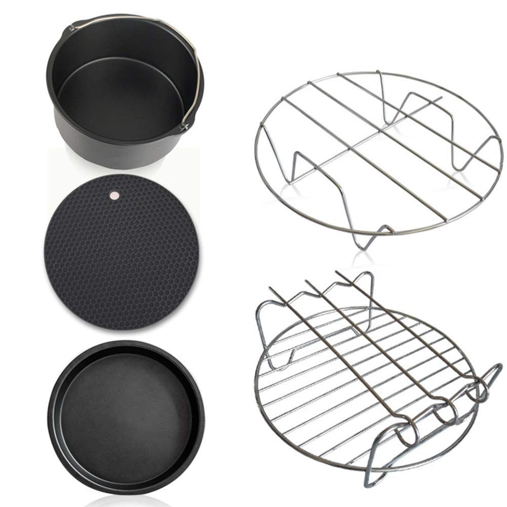 5PCs/Set Air Fryer Accessories Frying Pot Pizza Tray Cage Dish Rack Baking Pan Basket Pizza Plate Grill Mat for Gowise Phillips and Cozyna Applicable