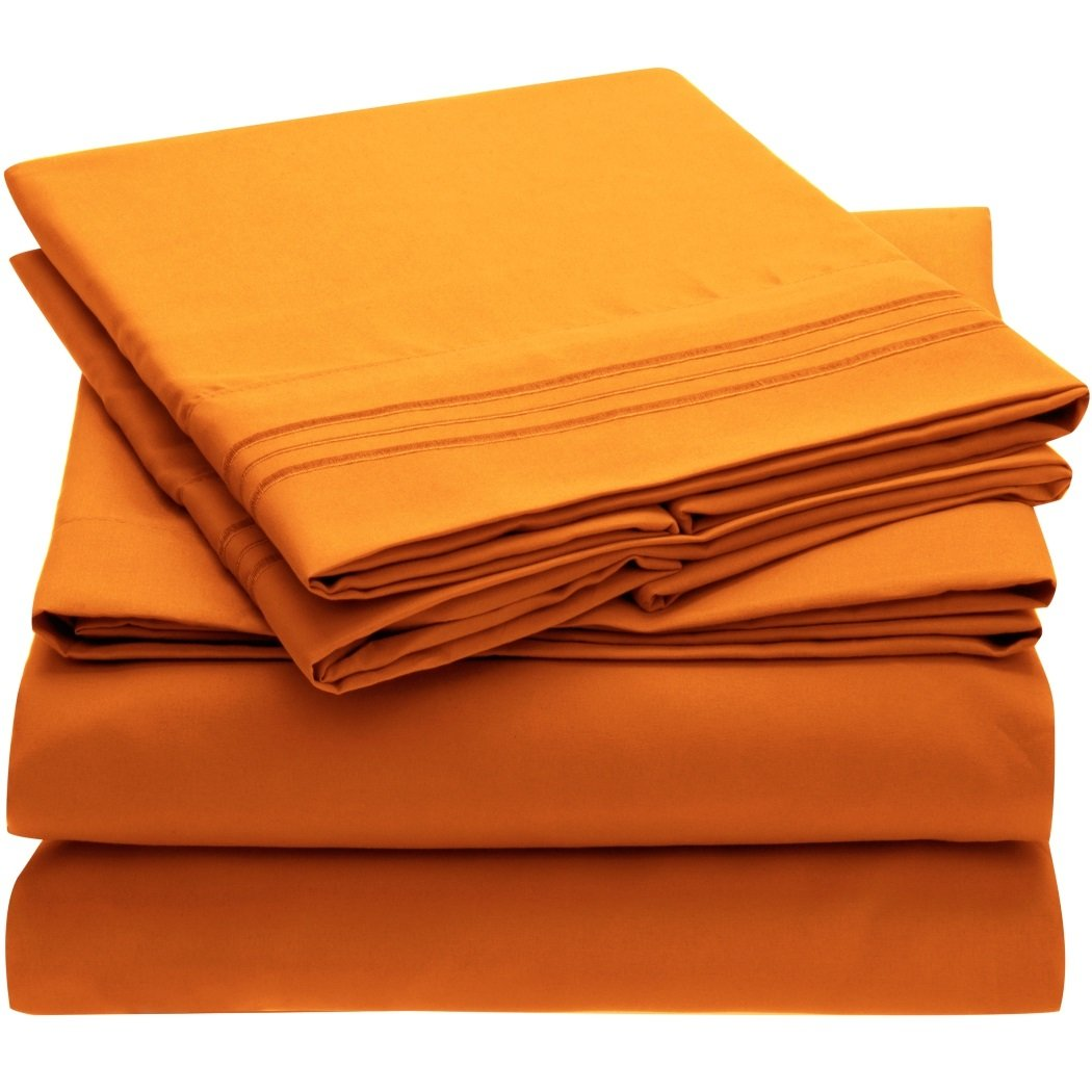 Harmony Linens Bed Sheet Set - 1800 Double Brushed Microfiber Bedding - 3 Piece (Twin, Persimmon