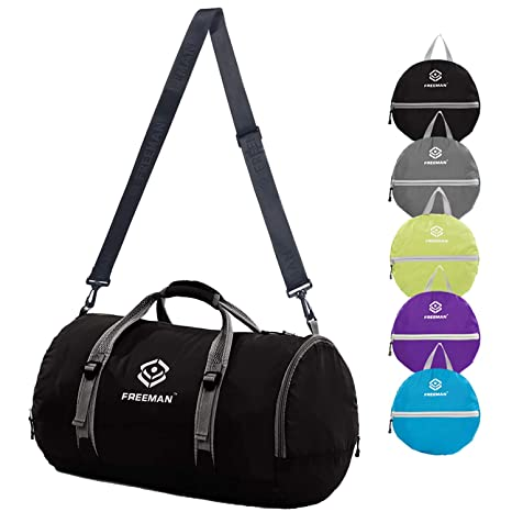 Amazon.com  Foldable Sports Duffel Gym Bag for Women Men with Shoe ... 9d7f80c77ed63