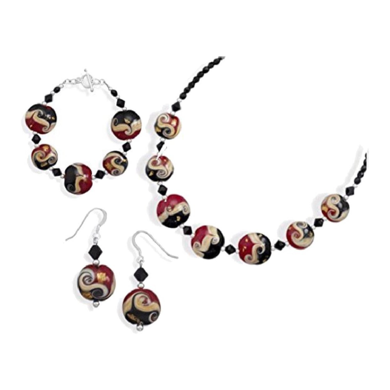 Red Black Venetian Murano Glass Necklace and Bracelet Earring Set 'Perle A Lume' Mother's Day Gift For Her