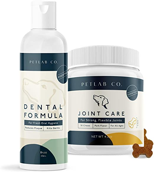 Petlab Co. Dental Wash + Joint Chews for Dogs Supplement Bundle   Dog Mouthwash & Teeth Cleaner   Dental Water Solution, Targets Plaque & Tartar   Canine Hip and Joint Support