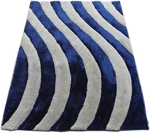 Modern Masada Rugs Shag Area Rug Design 3-D 803 Cobalt
