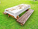 Ambesonne Victorian Outdoor Tablecloth, Nostalgic Boots with Roses Butterfly and Bird British Trend Upper Class Shoe Art, Decorative Washable Picnic Table Cloth, 58 X 120 inches, Brown White
