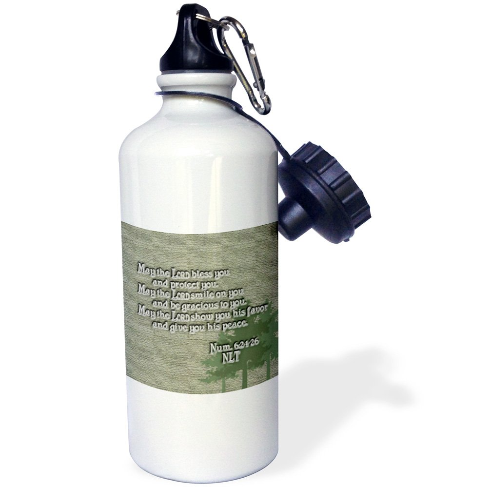 21 oz White 3dRose wb/_20537/_1Aarons Blessing Numbers 624 26 Bible verse Sports Water Bottle