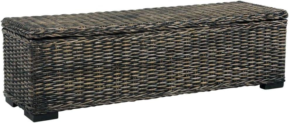 UnfadeMemory Aufbewahrungsbox 120 cm Sitzhocker Bank Truhe mit Gro/ßem Staufach zur Aufbewahrung Kubu-Rattan und Mango-Massivholz 120 x 35 x 35 cm Schwarz